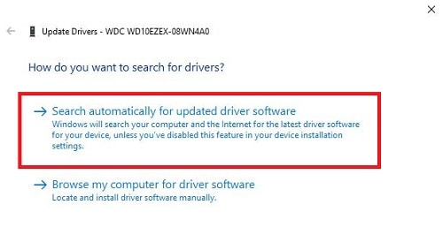 Search Automatically for updated driver software Window