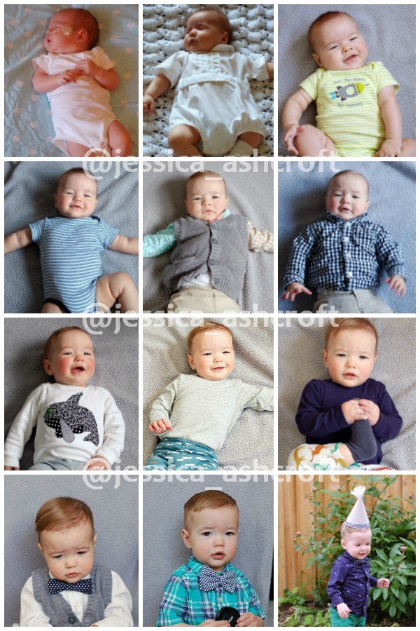 Monthly baby photo ideas collage.