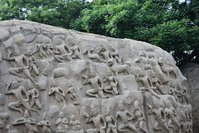 Beautifully carved architecture on rocks, Mamallapuram