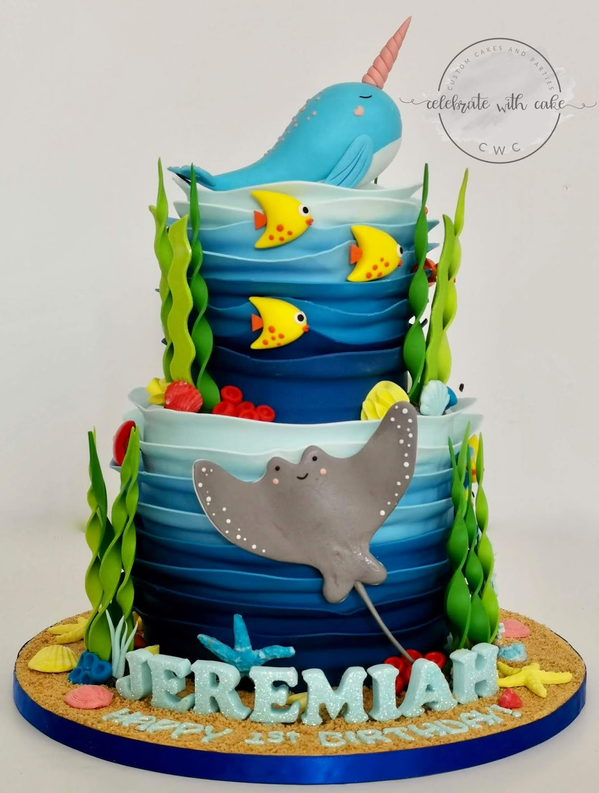 Awesome Celebrate With Cake Ocean Themed Cake Featuring Narwhal Two Funny Birthday Cards Online Aeocydamsfinfo