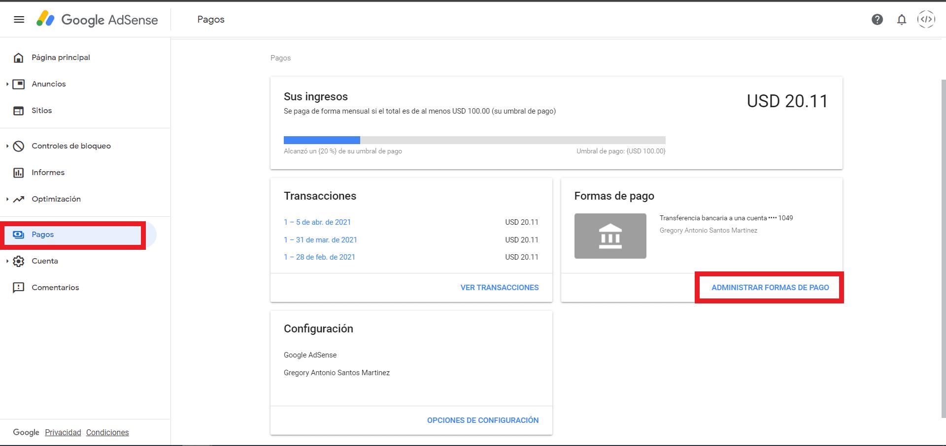 seccion pagos de  Google AdSense