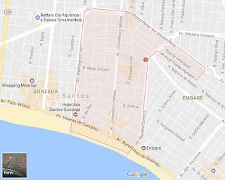 Mapa do Bairro: Boqueirão em Santos - SP.