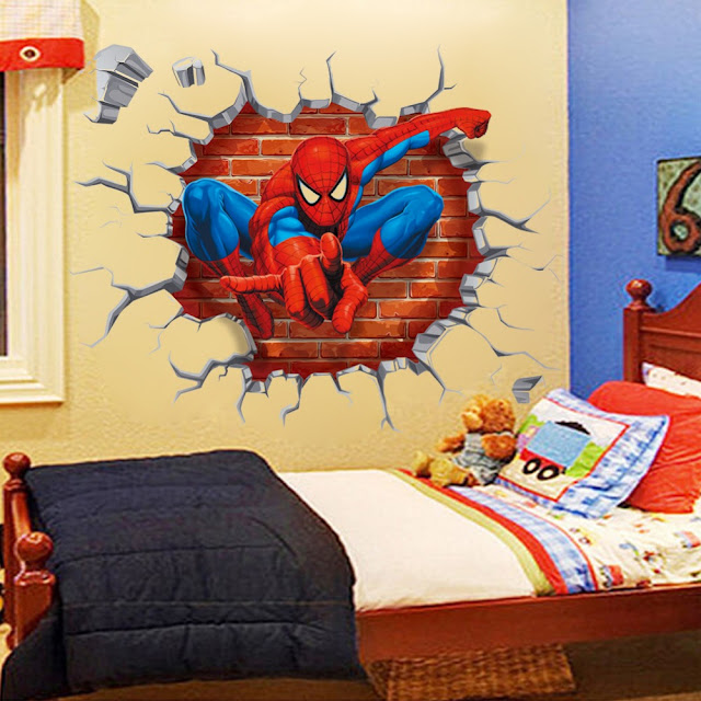 Kids room interior with 3d wall stickers of spiderman