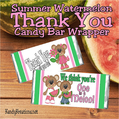"I know I could use a few extra Karma points today by saying thank you to someone in my life with this sweet Watermelon candy bar wrapper.  Wrapper has such cute summer colors and reads ""We think you're one in a melon!""  What a perfect summer thank you gift."