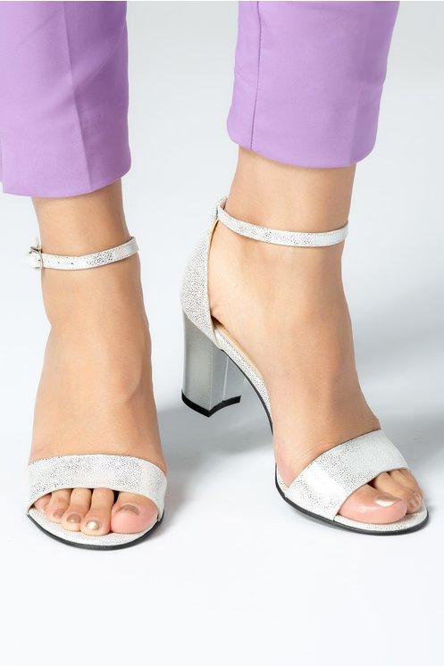 Sandale dama de zi piele naturala argintii cu toc mediu