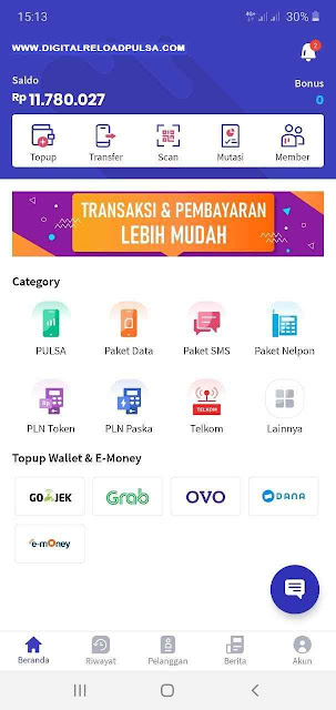 Aplikasi Digital Mobile Topup Digital Pulsa