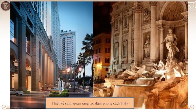 Roman Plaza mạng đậm phong cách kiến trúc của thành Rome, Ý.