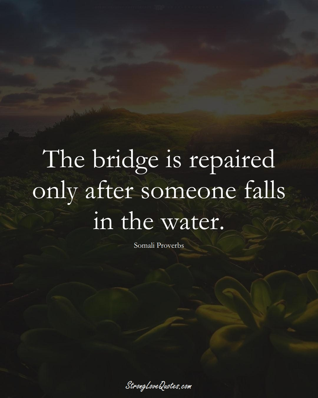 The bridge is repaired only after someone falls in the water. (Somali Sayings);  #AfricanSayings