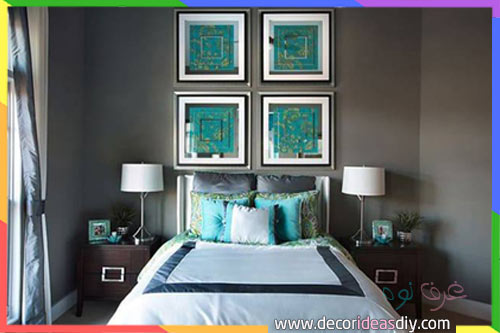 جدار غرفة نوم رمادي داكن مع لمسات باللون تركواز