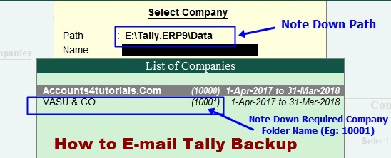 how to send tally backup through email