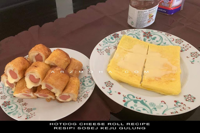 hotdog cheese roll recipe, cara masak roti sosej cheese gulung, sosej cheese roll,