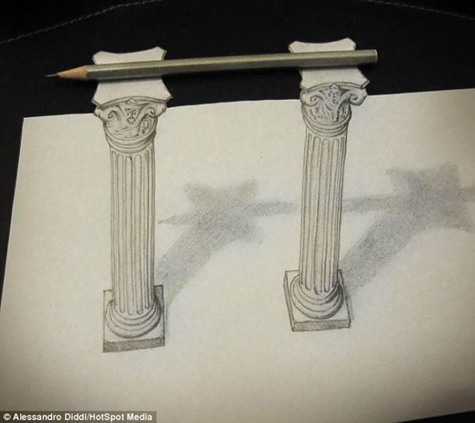 lukisan 3d pensil atas tiang