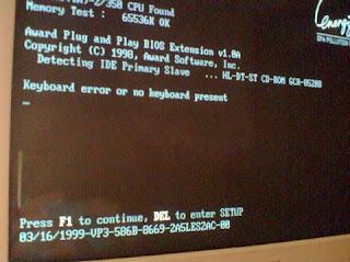 Tampilan menu BIOS pqda komputer