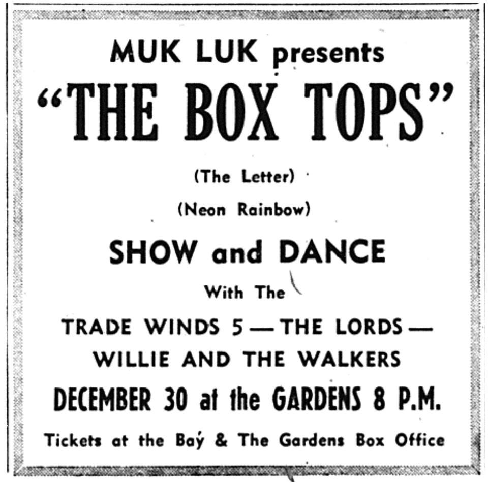d15f4a837384 advertisement – concert with The Boxtops – Edmonton Journal 29 December 1967