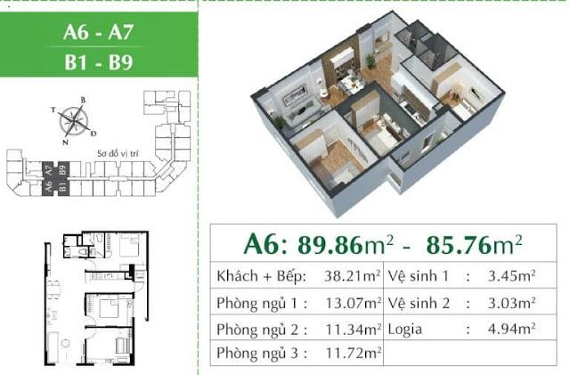 Căn A6 chung cư ecocity Long Biên.