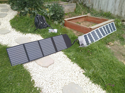 Two sets of small solar panels alongside each other