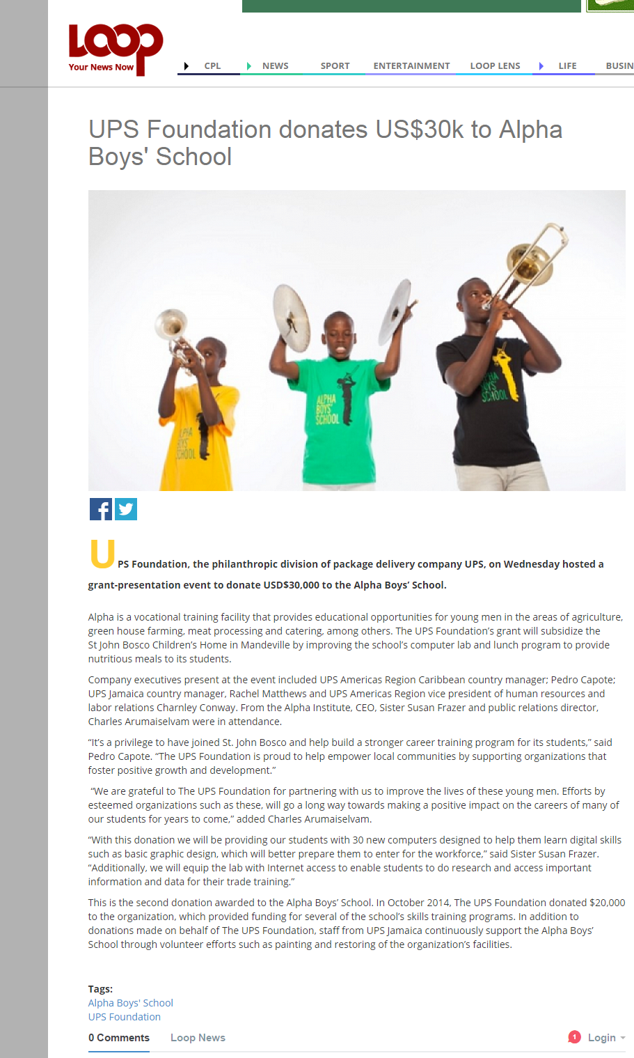 UPS Foundation donates US$30k to Alpha Boys' School