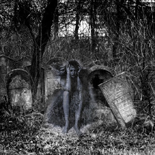 Ghost girl sitting by headstones