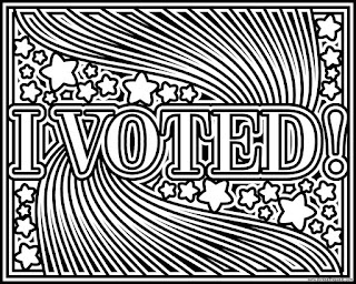 I VOTED! coloring page to print and color. Available in jpg and transparent png versions. #Patriotism #Election