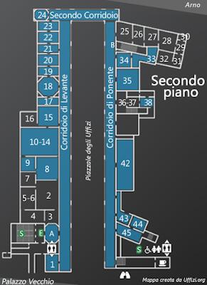 Mappa Secondo Piano Galleria degli Uffizi