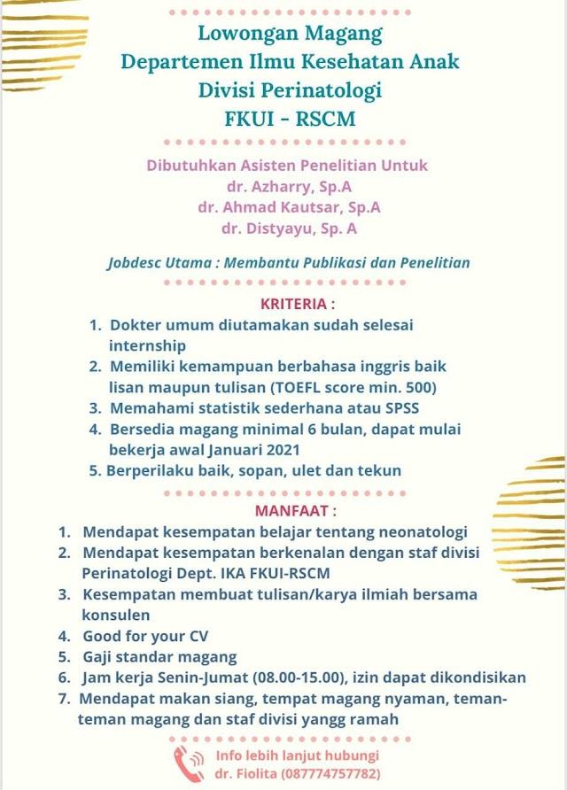 Loker Magang Dokter Departemen Ilmu Kesehatan Anak Divisi Perinatologi FKUI-RSCM