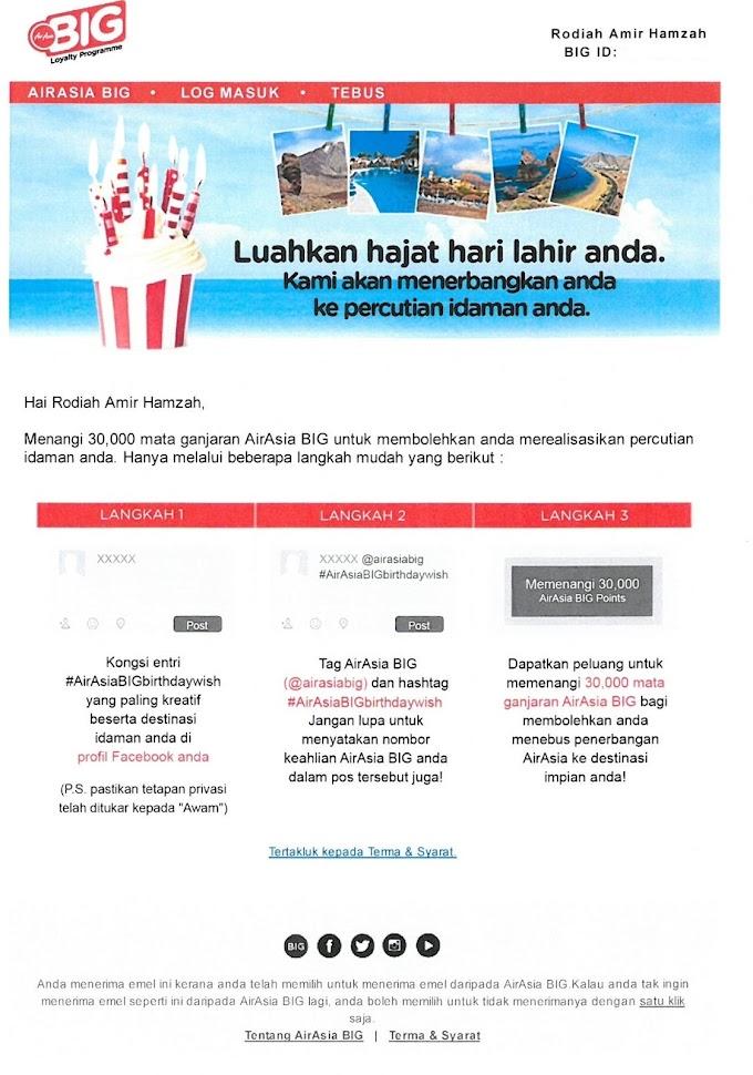 AirAsia BIG Loyalty Programme Kejutan Hari Lahir