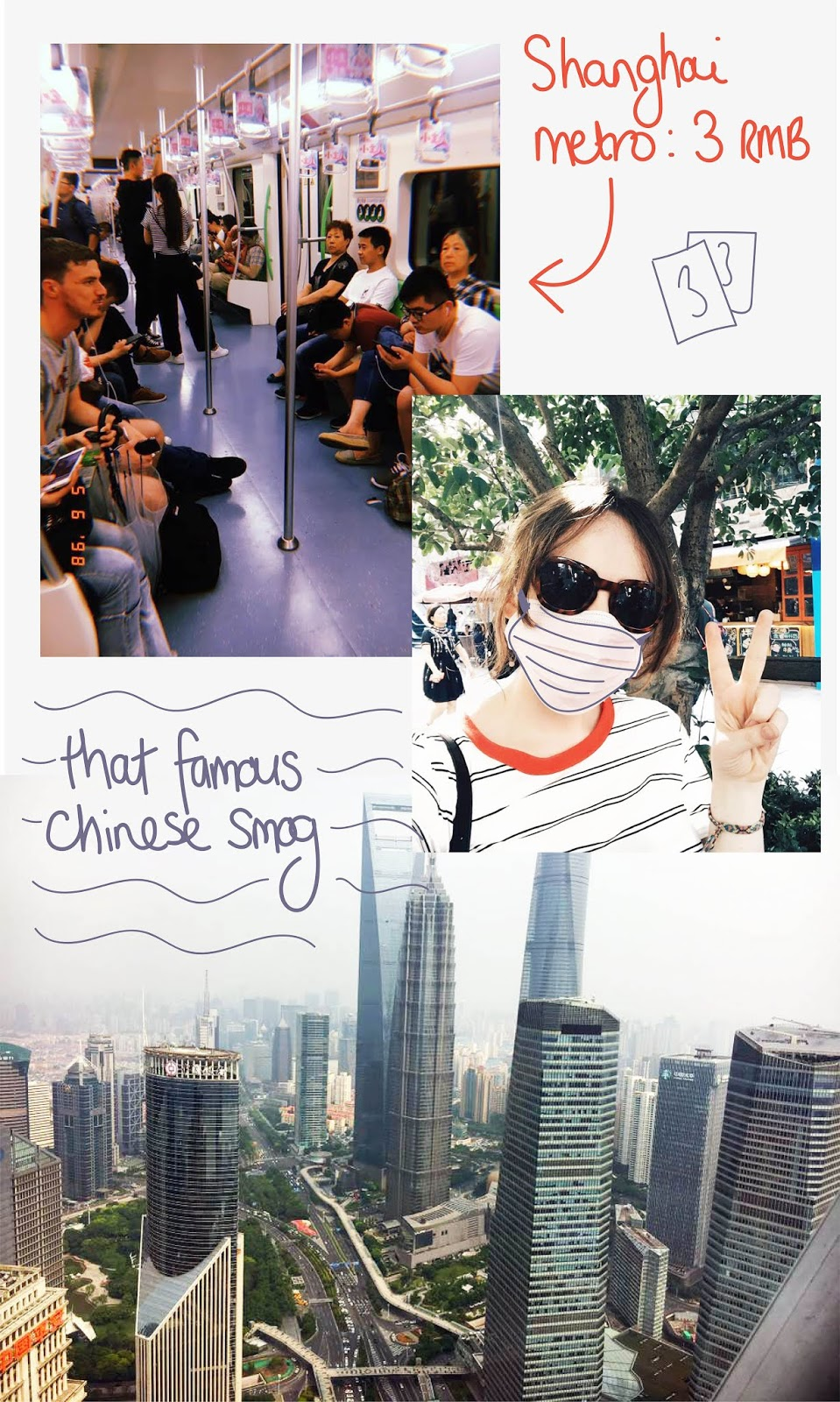 collage of Chinese metro carriage, tourist wearing pollution mask and the view of the Shanghai skyline from the oriental pearl tv tower observation deck