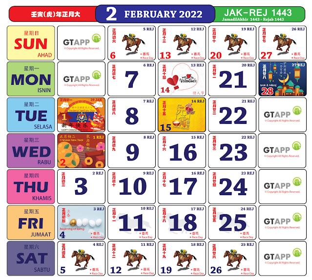 Kalender Februari 2022