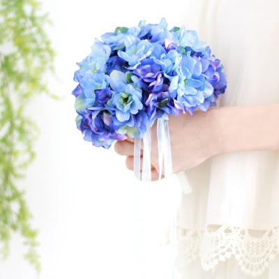 デルフィニウムのブーケ(青)-ウェディングブーケと花髪飾りairaka