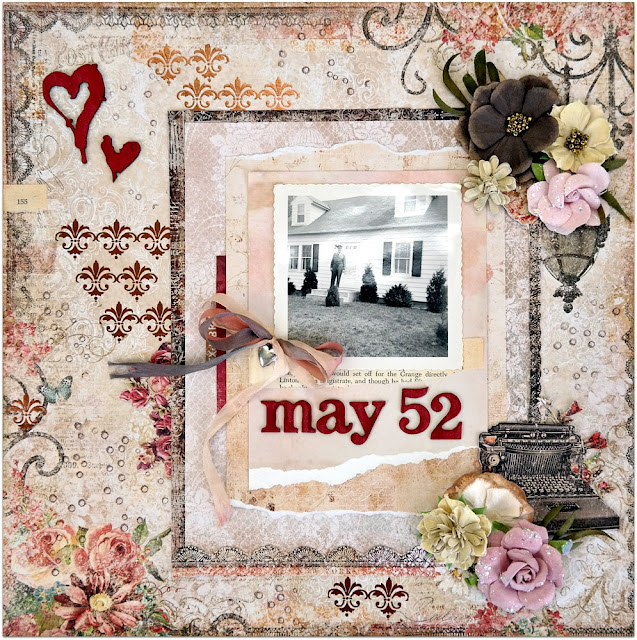 May '52 Shabby Chic Scrapbook Layout by Dana Tatar for Scraps of Darkness Kit Club - February Our Story Kit