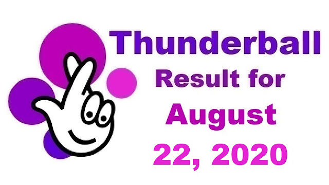 Thunderball Results for Saturday, August 22, 2020