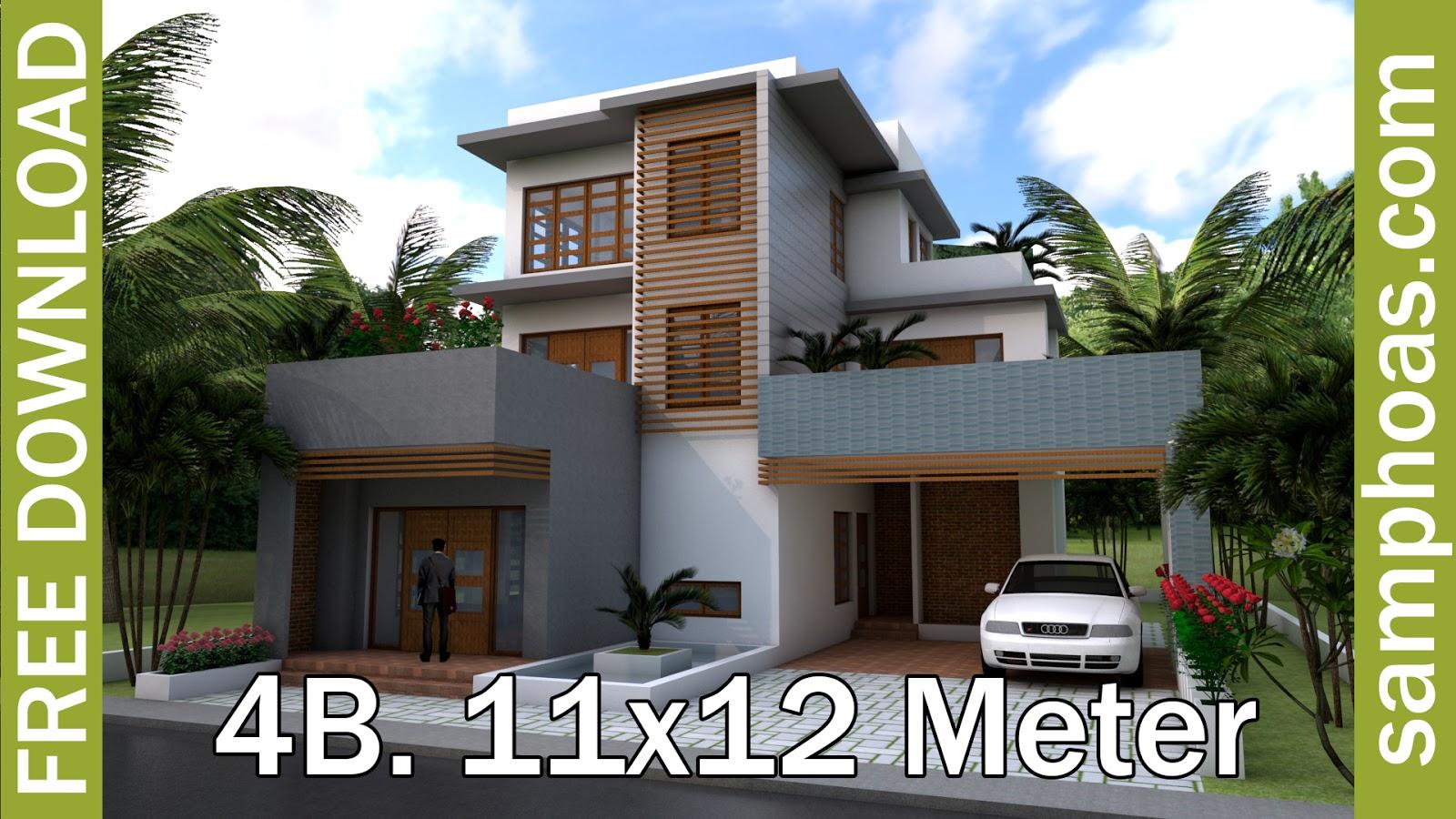 Sketchup Modern 4 Bedrooms Home Plan 11x12m - House Plan Map