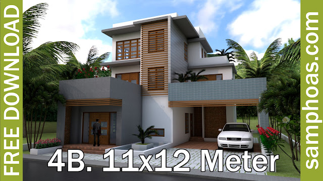 Sketchup Modern 4 Bedrooms Home Plan 11x12m This Villa Is Modeling By SAM  ARCHITECT With 3 Stories Level. Itu0027s Has 4 Bedrooms. 4 Bedrooms Home Plan  11x12m ...