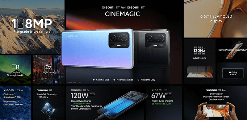 Xiaomi 11T series features and specs