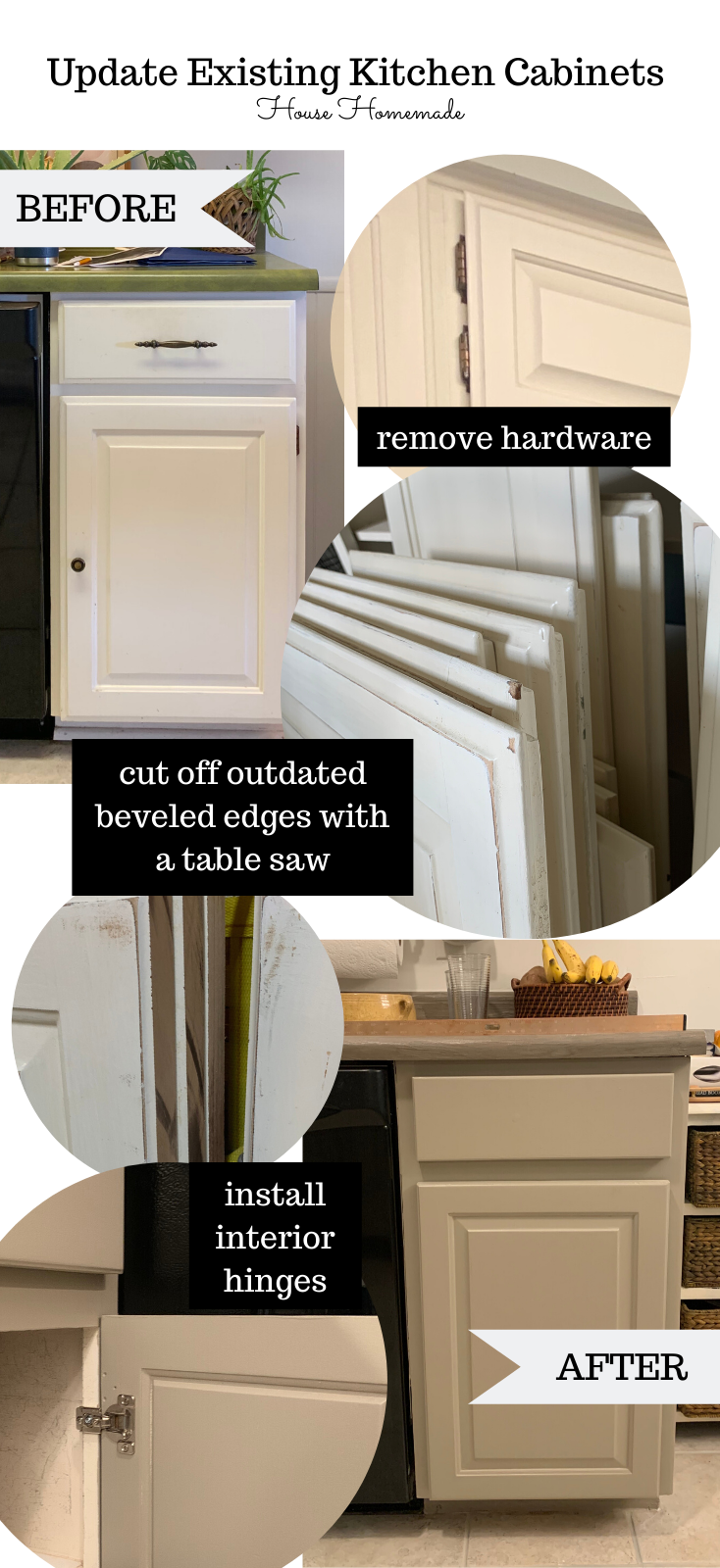 update old outdated cabinet doors to a modern style. Slice off edges of cabinets to update. | House Homemade
