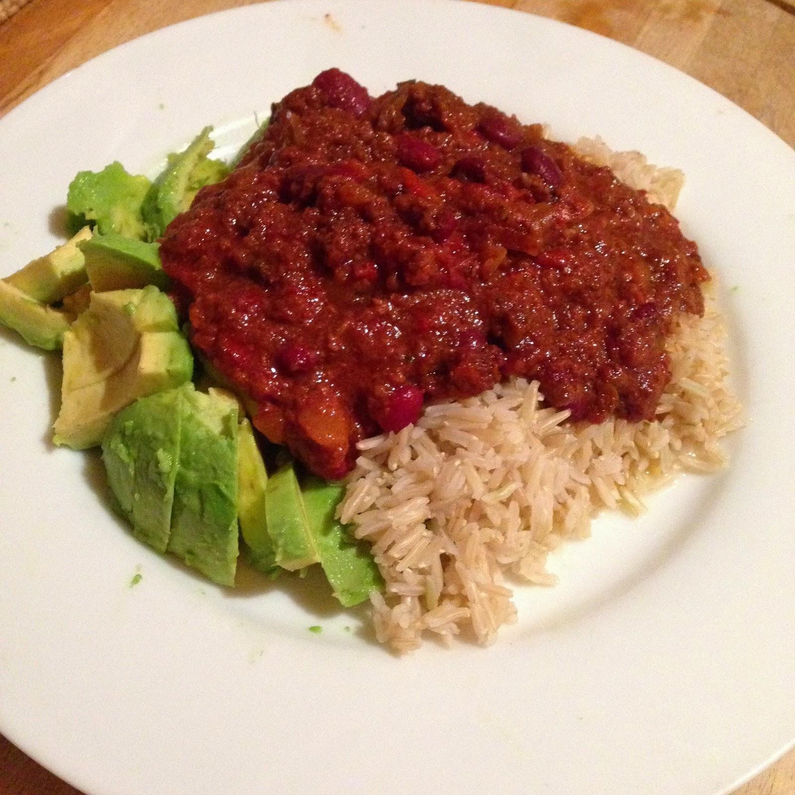 Look What We Found Chili, rice, avocado
