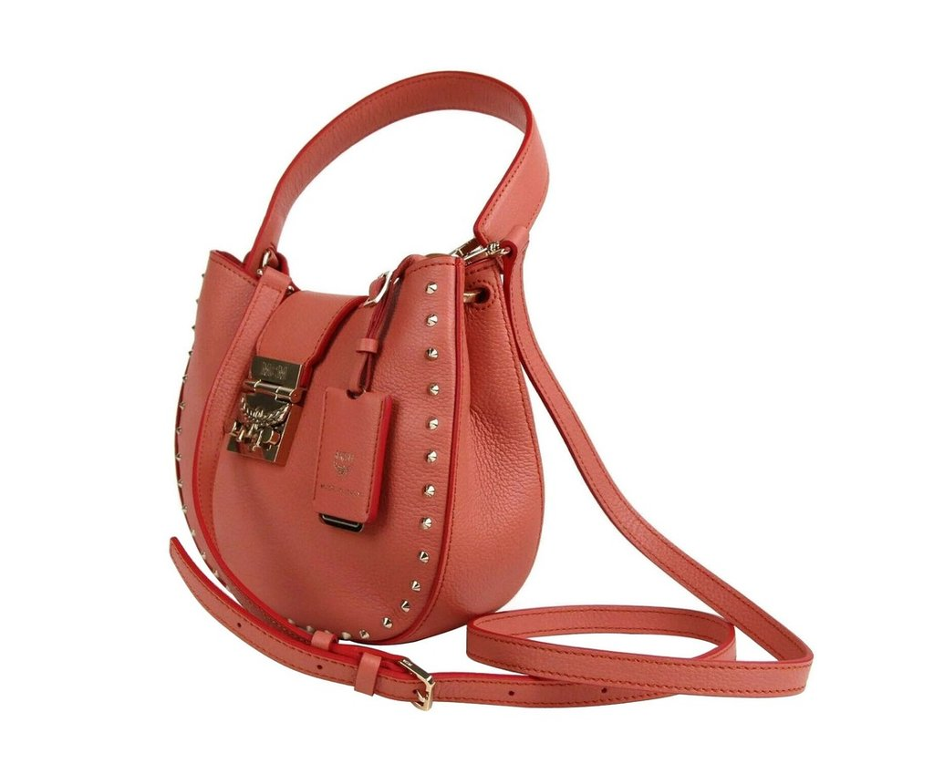 Authentic MCM Trisha Cocoa Pink Leather Studded Small Crossbody Bag