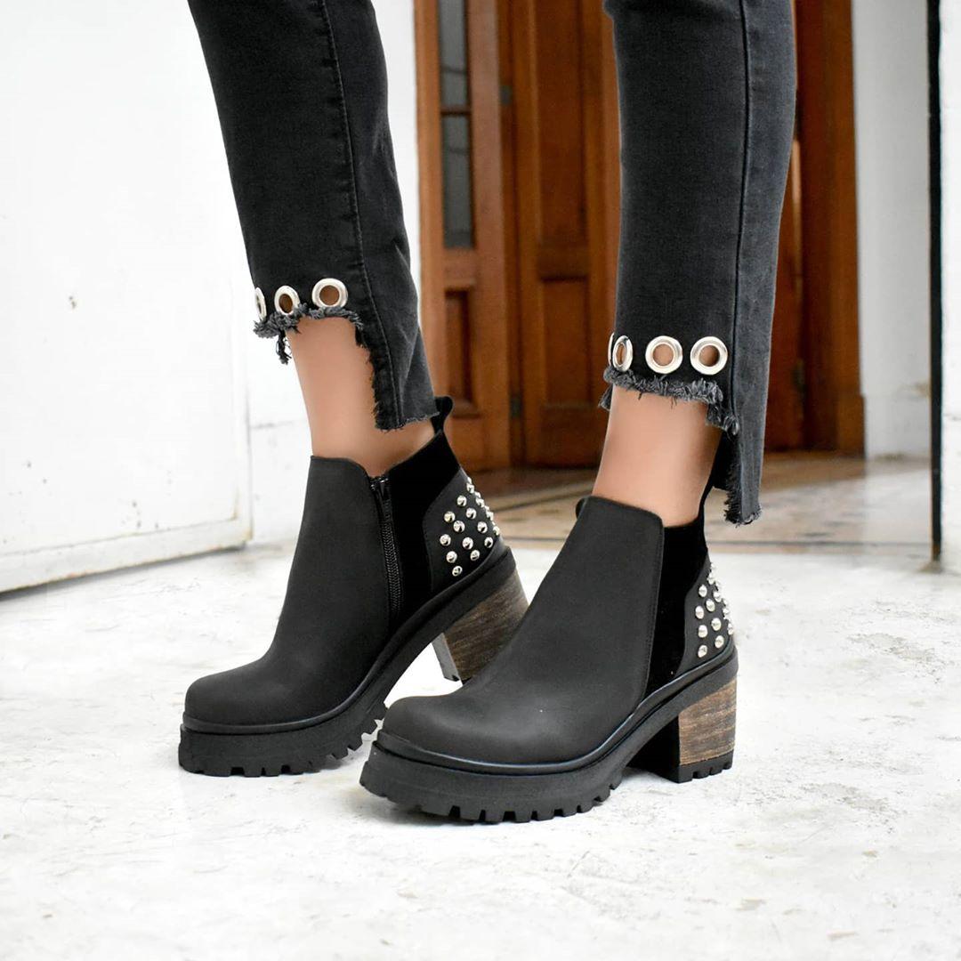 Moda 2020 botas invierno 2020 mujer taco cuadrado bajo.