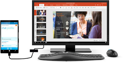 Phone connected to a desktop monitor - image from https://www.microsoft.com/en-gb/windows/Continuum as they have no press shots of this setup