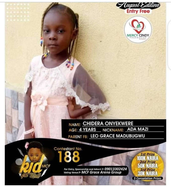 Vote For Chidera Onyekwere On The Ongoing Mercy Cindy Foundation Competition