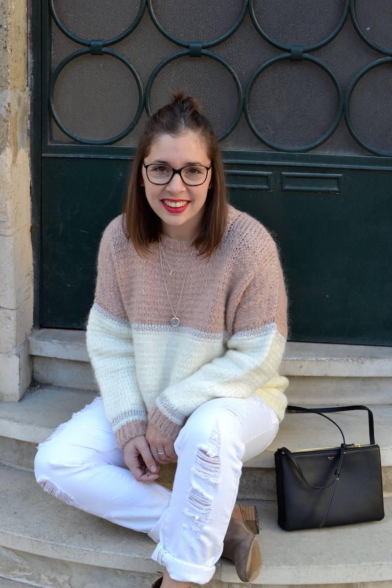 pull an'ge collection, jean blanc Kiabi, trio bag Céline