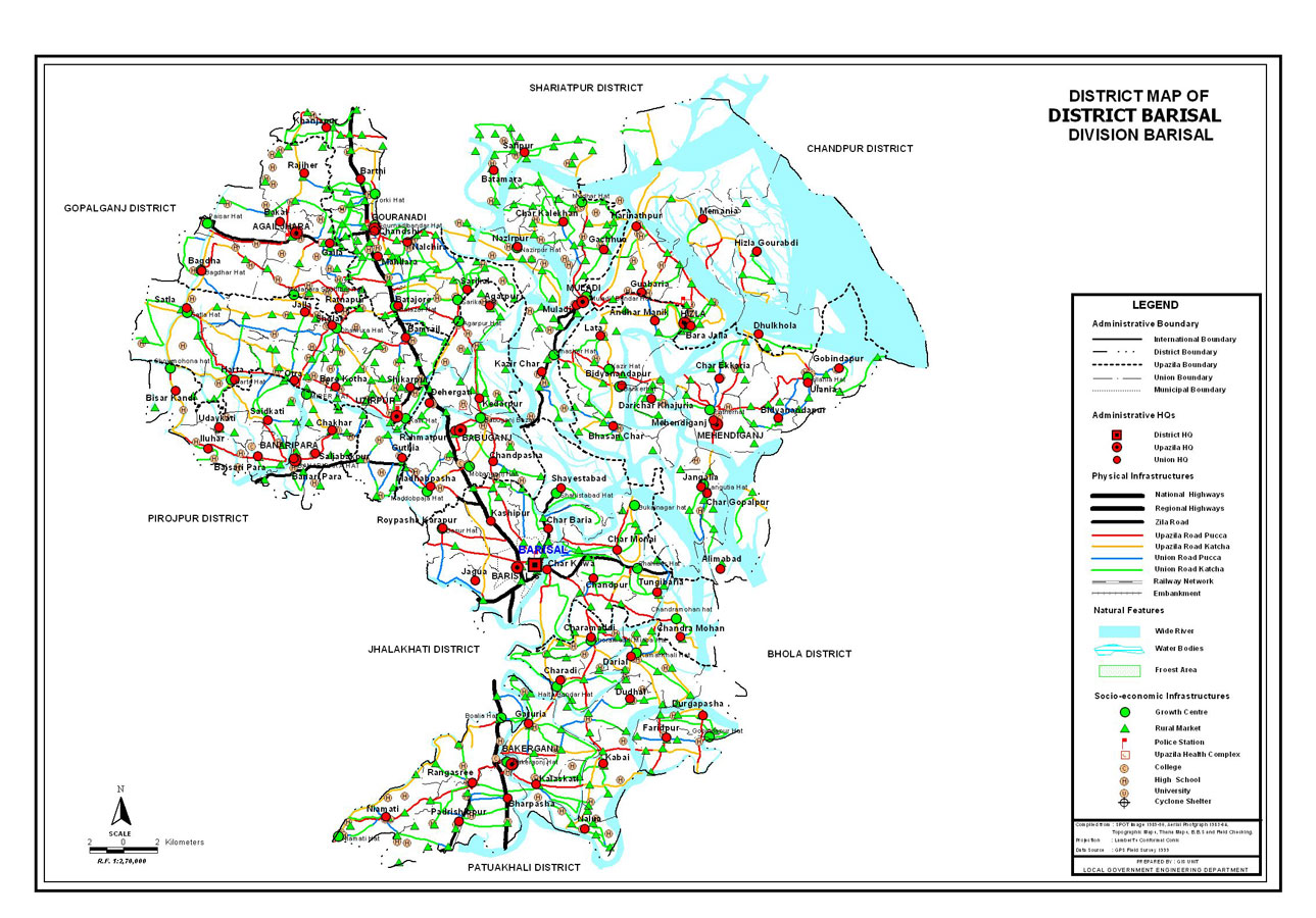 Barisal District Map Bangladesh