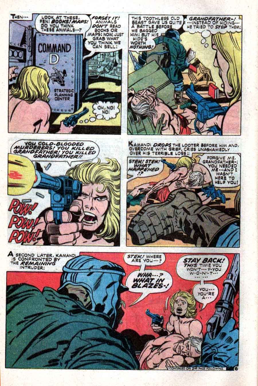 Kamandi v1 #1 dc 1970s bronze age comic book page art by Jack Kirby, Mike Royer