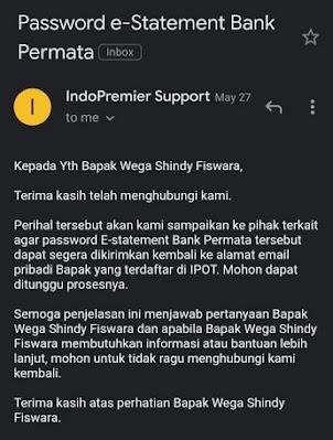 Balasan dari CS Indo Premier