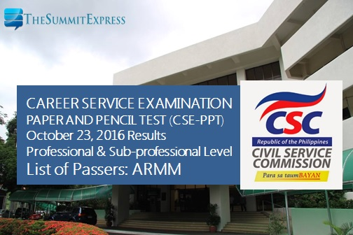 ARMM Passers: October 2016 Civil Service Exam results (CSE-PPT)