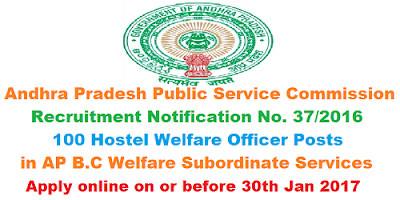 APPSC Hostel Welfare Officer Recruitment Notification 37/2016