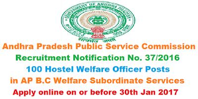 APPSC Hostel Welfare Officer Recruitment Notification 37/2016