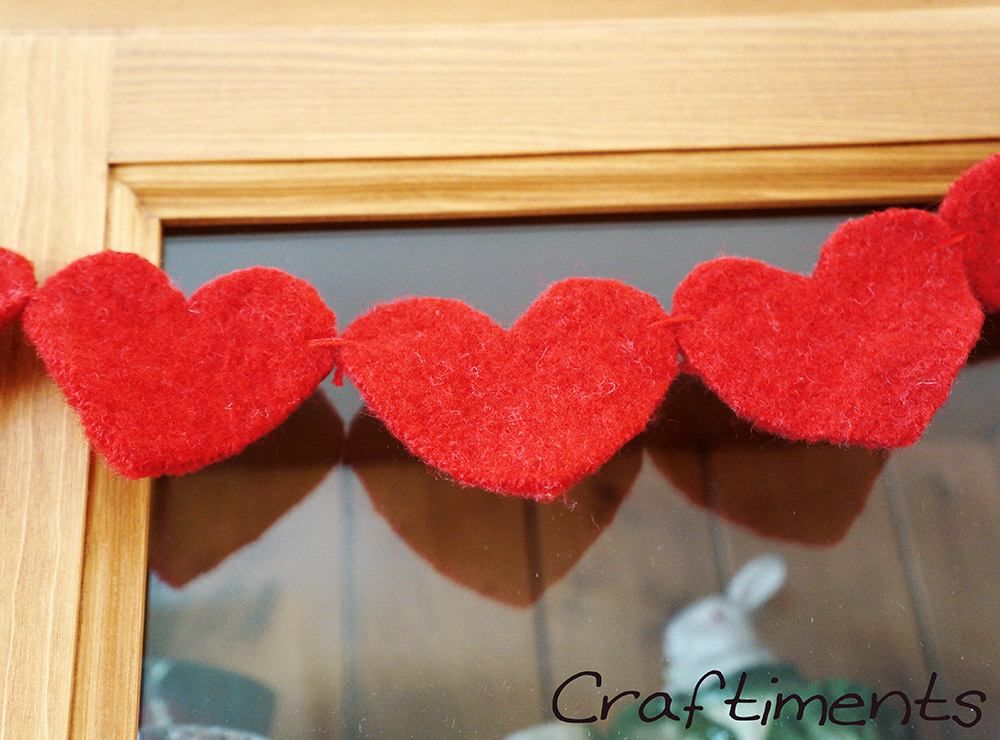 Craftiments:  Heart garland made from felted wool sweater