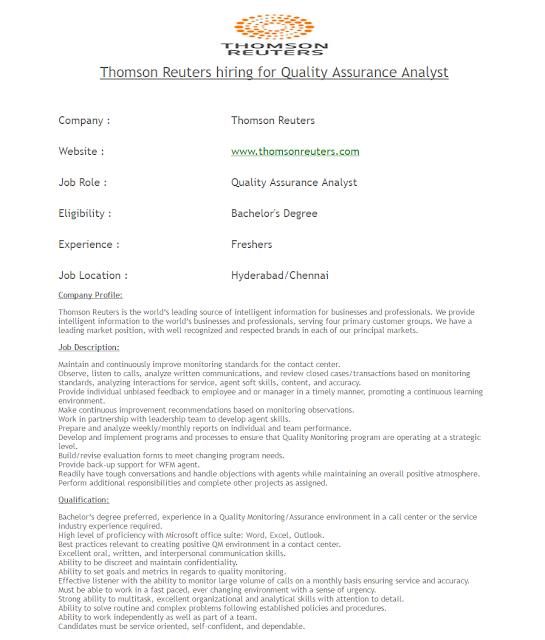 Thomson Reuter Hirings