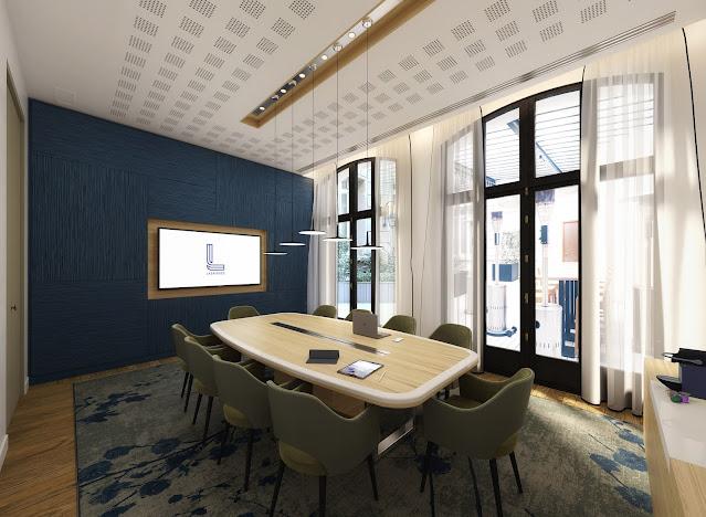 Visuel 3D intérieur d'une salle de réunion